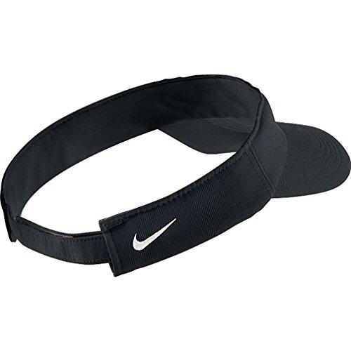 Amazon.com   Nike Tech Swoosh Visor BLACK   Golf Shirts   Clothing 6f347038dcc