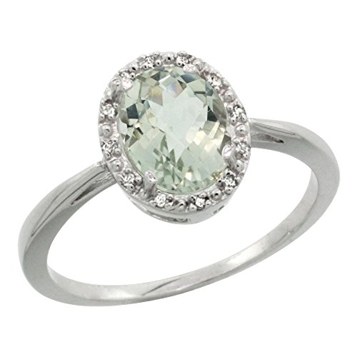 10K White Gold Diamond Halo Genuine Green Amethyst Ring Oval 8X6mm size 7 (Amethyst Oval Gold)