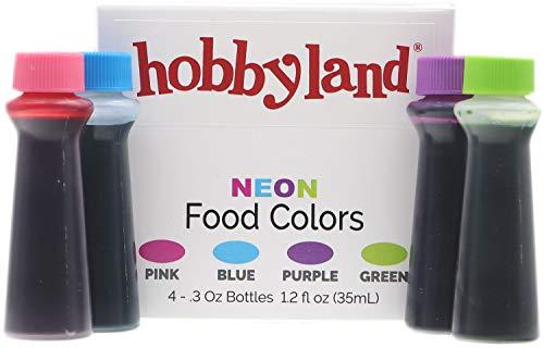 Hobbyland Neon Food Coloring Liquid Set (Green, Blue, Pink, Purple.3 fl oz Bottles)]()