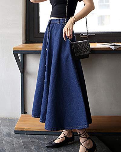 Rtro vase Bleu Femme LaoZanA Jean lgante Fonc Longue Maxi Jupe Jupe Jupe en Plisse 7I7zdxf