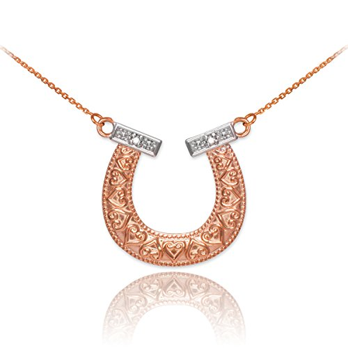 14k two tone rose and white gold milgrain edged lucky diamond 14k two tone rose and white gold milgrain edged lucky diamond horseshoe pendant necklace aloadofball Image collections