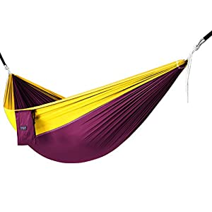 Yes4All Lightweight Double Camping Hammock with Strap & Carry Bag – Nylon Parachute Hammock/Lightweight Portable Hammock for Camping, Hiking (Purple/Yellow)