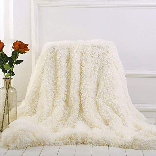 Winter Artifact Faux Fur Blanket Soft Throw Blankets for beds Cover Shaggy Bedspread Plaid Fourrure cobertor Mantas,Cream White,130x160 cm,Spain