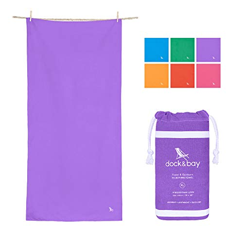 Dock & Bay Quick Dry Swim Towel Lightweight - Patagonia Purple, 63 x 31 - Travel, Shower & Fitness- Compact Beach Towel for Travel