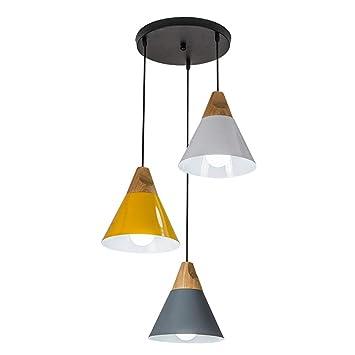Bois Lampes Suspension Industrielle Flammig 3 Luminaire Moderne Éclairage Simplicity Plafonnier Lustre Métal Suspendues Et En vmwn80N