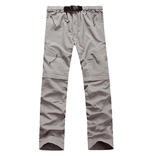 Lanbaosi Men's Outdoor Quick Dry Hiking Pants Convertible Cargo Shorts XX-Large Light Gray