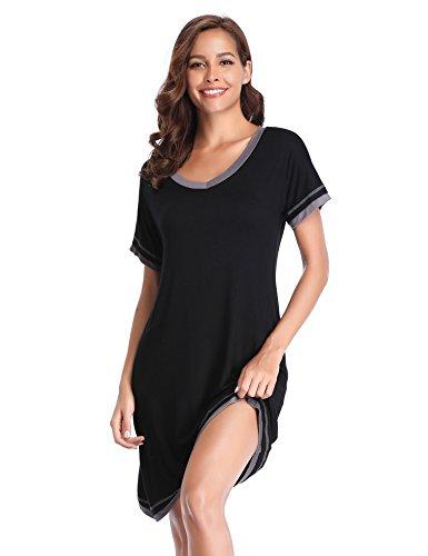 Lusofie Sleepwear Womens Cotton Nightgown Short Sleeve V Neck Contrast Nightdress S-XXL