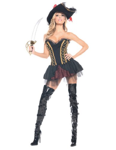Be Wicked Seven Seas Pirate Costume, Black/Red/Gold, (Wicked Pirate Costumes)