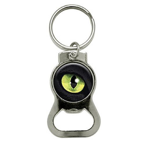 Graphics and More Cat Green Eye Bottle Cap Opener Keychai...