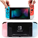 Pakesi Protective Case Cover for Nintendo Switch, Comfortable Hard PC Grip Frosted Case and Soft TPU Case for Switch System-Clear