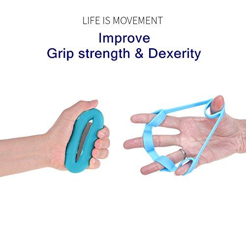 Yuboa Finger Strength Trainer for Forearm Exercise,Finger Stretcher for Guitar,Hand Exerciser set for Arthritis,Hand Grip Strengthener Rings for Rock Climbing,3 Level,6Pcs.