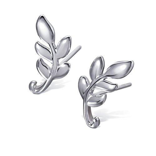 S.Leaf Leaf Stud Earrings Olive Leaf Earrings Sterling Silver Leaf Studs for Woman (Leaf B)