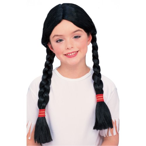 [Rubies Native American Girl Wig with Braids] (Red Indian Costume Girl)