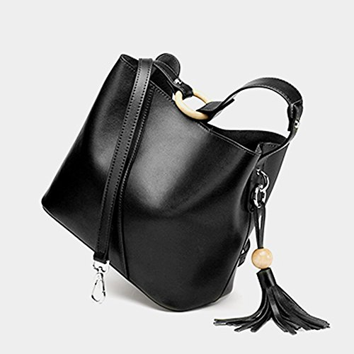 Handbags Bag Black Leather Multiple Shoulder Dissa Women Pockets Soft Q0801 1Wp8qO