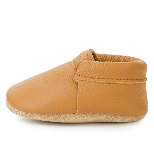 Fringeless Genuine Leather Baby Moccasins - Boys and Girls Shoes for Infants, Babies, Toddlers (Gingersnap, US 5.5)