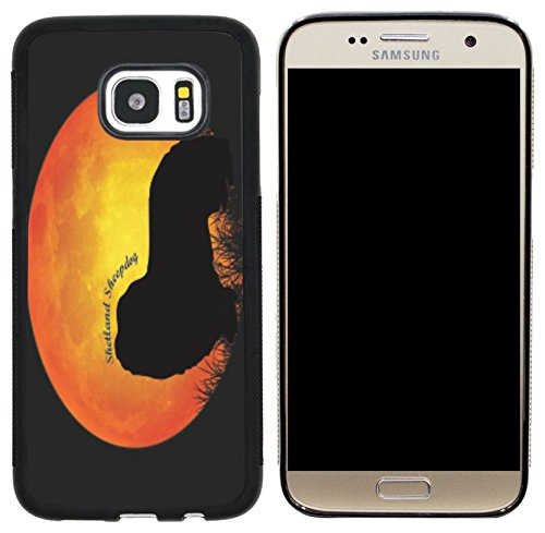 d Sheepdog Silhouette By Moon Design Cell Phone Case for Samsung Galaxy S7 - Black ()