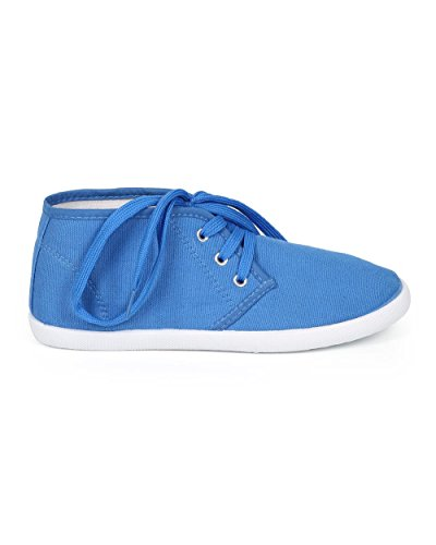 Refresh CH03 Women Canvas Round Toe Lace Up Chukka Flat Sneaker - Blue ujy5BnF4pc