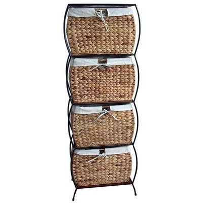 Seagrass Rattan 4 Drawer Basket Storage File Cabinet (Rattan Filing Cabinet)