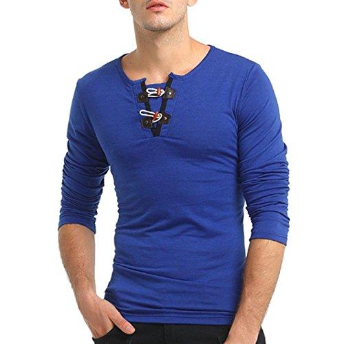 kaifongfu Men's Top,Long Sleeve Slim Solid Color Blouse T-Shirt Sweatshirts Pullover ()