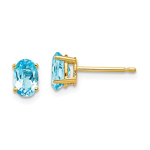 m Oval Blue Topaz Post Stud Earrings Gemstone Fine Jewelry Gifts For Women For Her ()