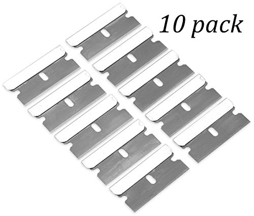 10 Pack Razor Blades Single Edge- High-Grade Long Lasting Carbon Steel Single Edge Razor Blades Ideal for Standard Safety Scrapers, Removing Paint and Decals- By Katzco (Edge Steel Scraper)
