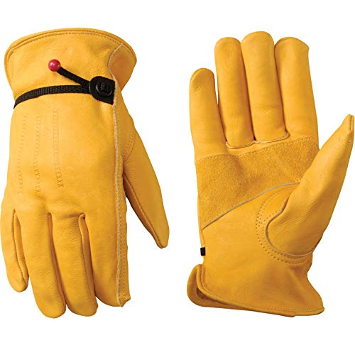 Men's Leather Work Gloves with Adjustable Wrist