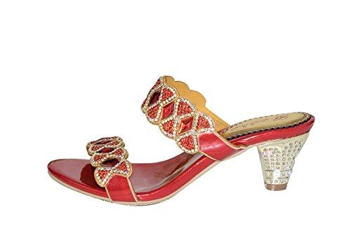 unicoratha Mujer Lazo Mid de tacón bajo mano Dimante Party Dress Sandalias Zapatos Red