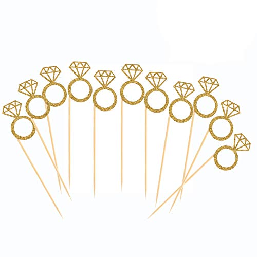 50 Pack Cupcake Toppers Gold Glitter Mini Diamond Ring Cakes Toppers for Marriage Engagement Anniversary Birthday Valentines Party Cake Decor -