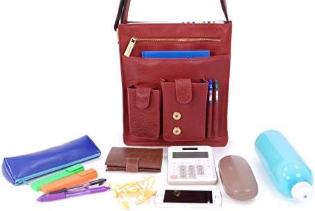 BUCKLESTONE - Cuir Véritable - Sac Epaule/Messenger/Gibecière - Compatible pour iPad/Tablettes - Warwick (S) - Warwick - Bubble Rouge
