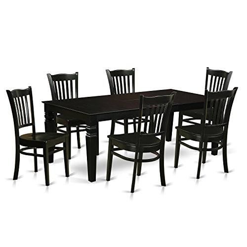 East West Furniture LGGR7-BLK-W 7 Piece Dining Table and 6 Wood Kitchen Chairs, Black