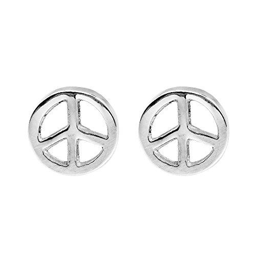 Peace Symbol 8 mm Circle .925 Sterling Silver Stud (Peace Symbol Earrings)