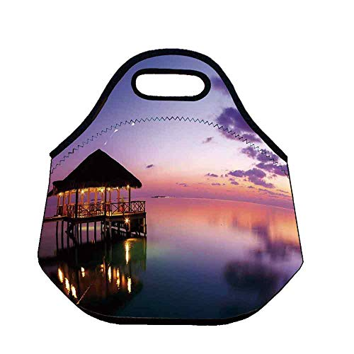 - Tropical Practical Neoprene Lunch Bag,Arbor with Lights on Sea at Dramatic Night Paradise Maldives Sky Exquisite Coast View for School Trip Work,Throw(11.8''L x 6.3''W x 11''H)