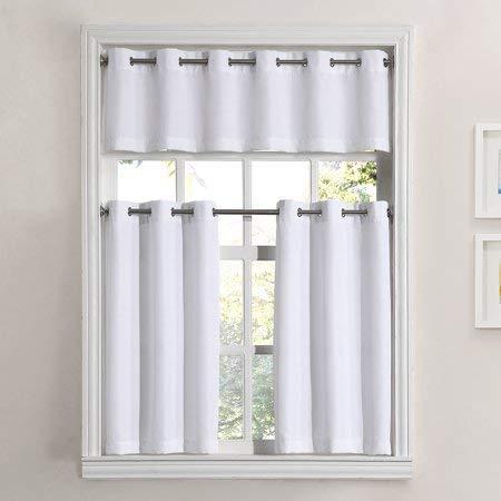 - Mainstay Solid Grommet 3-Piece Kitchen Curtain Tier Valance Set, 54x36, White