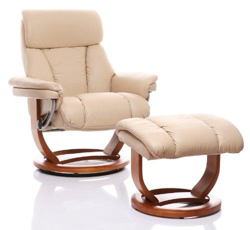 The Mars Premium Genuine Leather Swivel Recliner Chair & Footstool In Cream