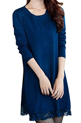 TOOGOO (R)Femmes pull en tricot dentelle lache decontracte robe Long Cardigan pull XXXL-bleu