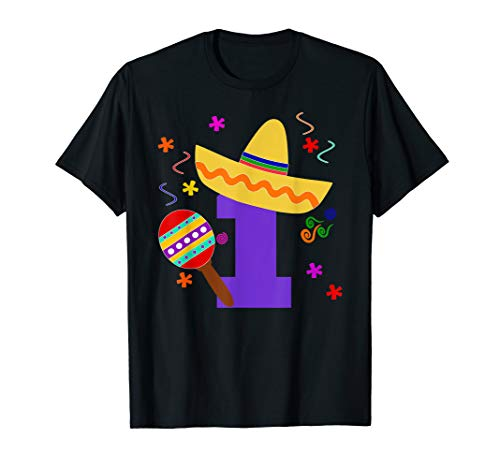 Kids 1 Year Old Mexican Fiesta Birthday Shirt Uno Anos 1th G