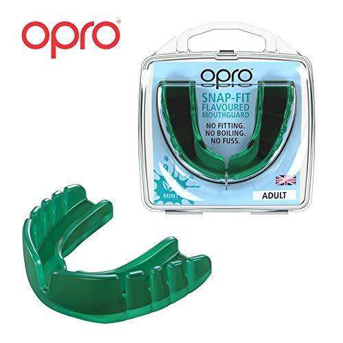 OPRO Mouthguard Snap-Fit Gum Shield for Ball, Combat and Stick Sports - No Boiling or Fitting Required -18 Month Warranty (Adult and Kids Sizes) (Mint Flavored, Adult)
