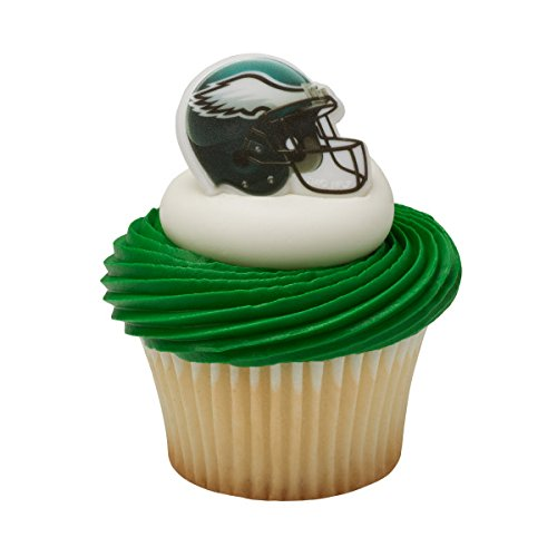 24 Pack Philadelphia Eagles Super Bowl Cupcake Rings toppers]()