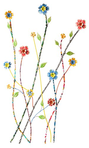 Metal Wrapped - Cape Craftsmen Stems and Flowers Multi-Colored Recycled Fabric-Wrapped Metal Wall Decor
