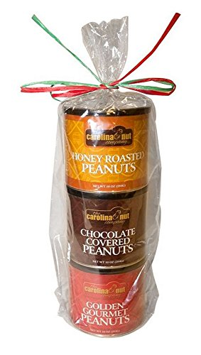 Carolina Nut Company Peanut Gift Pack: Golden Gourmet/Chocolate Covered/Honey Roasted) (10 Oz. Can of Each Flavor)