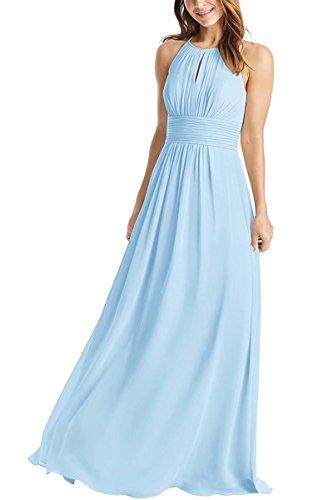 Weddder Halter Bridesmaid Dresses Long A-Line Pleated Empire Waist Chiffon Prom Dresses Sky Blue Size 8 (Chiffon Empire Waist Prom Dress)
