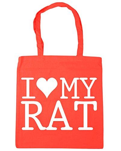 HippoWarehouse I Love My Rat Tote Shopping Gym Beach Bag 42cm x38cm, 10 litres