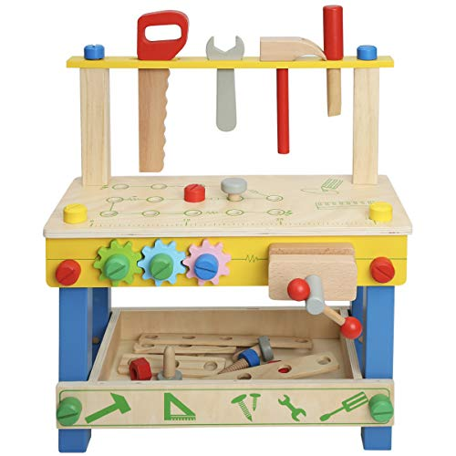 ROBUD Soild Wood Tool Stand Set for Toddlers and Kids, Wooden Workbench Toy Birthday for Boys Girls for 3 Year Old and Up