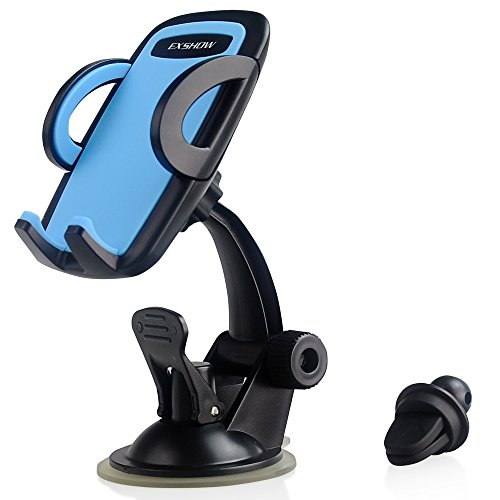 EXSHOW 3 in 1 Easy Touch Universal Mobile Phone Car Mount,Windshield Dashboard Air Vent Holder with 360 Degree Rotation for 3.5-6 inches Cell Phone Devices in Car(Blue)