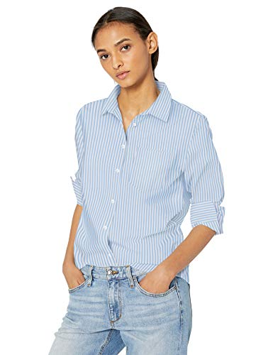 Amazon Essentials Women's Classic-Fit Long-Sleeve Poplin Patterned Shirt, French Blue Stripe, XS ()