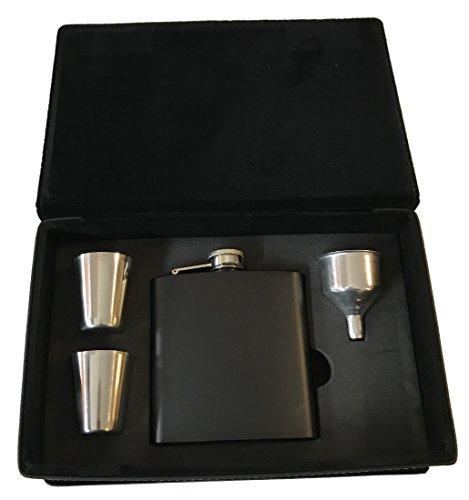 Rock Ridge Flask Set In Presentation Box - Choose Your Style (Matte Black/Black Leather Box, 6) by Rock Ridge