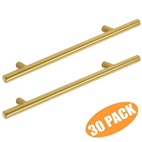 (Probrico Brushed Brass Cabinet Pulls 7-9/16 inch(192mm) Hole Centers Kitchen Cabinet Pulls Stainless Steel Euro Bar Modern Dresser Drawer Handles Furniture Cabinet Hardware (30 Pack))