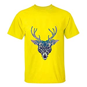 HappyAnimal Man Watercolor Art Effect Deer Elk T Shirt XXXL for Men yellow