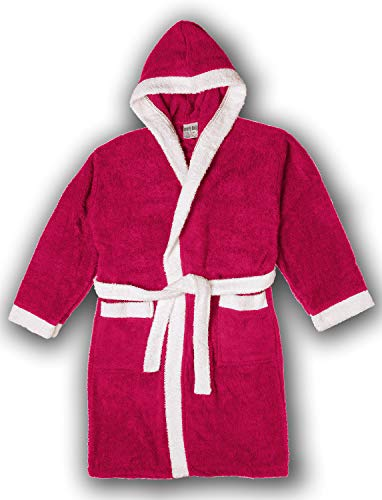 Girls/Boys 100% Cotton Hooded Robe Kids Terry Cloth Bathrobe KR01_Y19 Hot Pink 4
