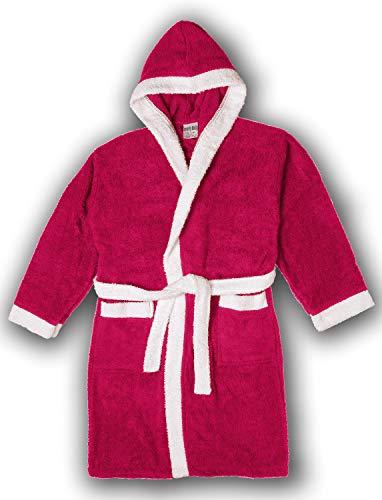 - Girls/Boys 100% Cotton Hooded Robe Kids Terry Cloth Bathrobe KR01_Y19 Hot Pink 4